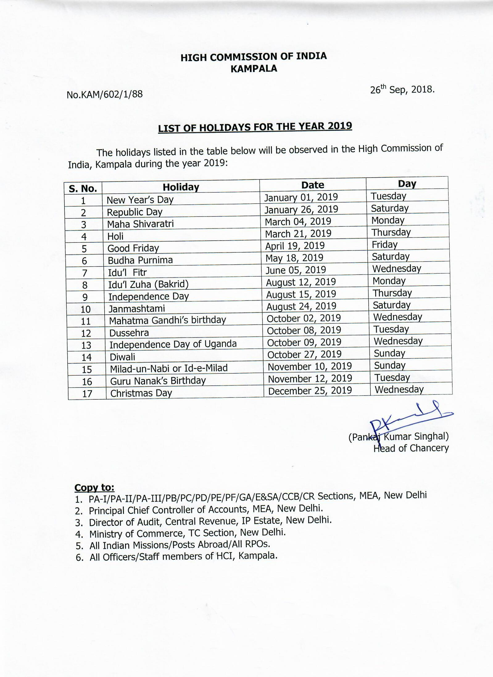 High Commission : List of Holidays